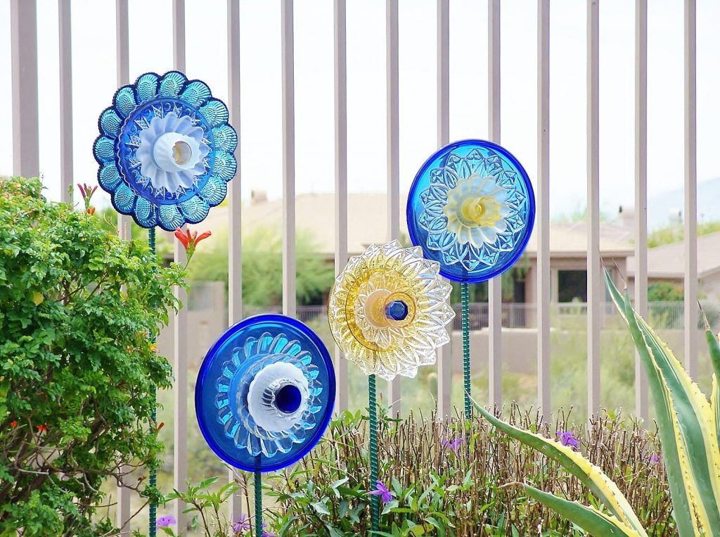Shades Of Blue Glass Suncather Glass Plate Flower Garden Etsy