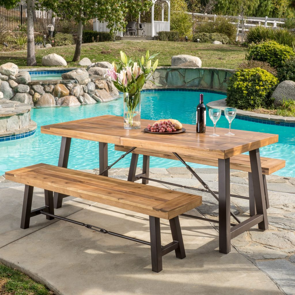 Shop Outdoor Puerto Acacia Wood 3 Piece Picnic Dining Set