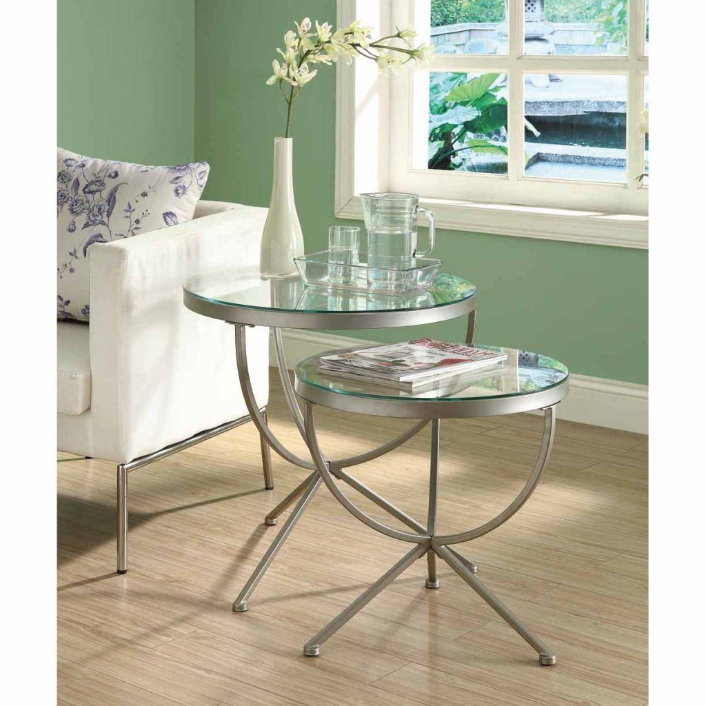 Shop Satin Silver 2 Piece Nesting Table Set With Tempered Glass