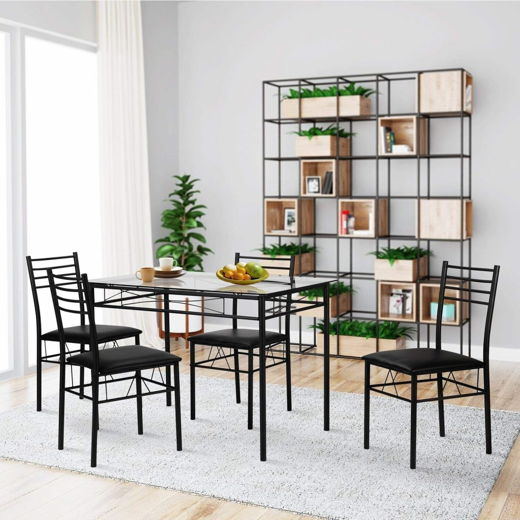 Shop Vecelo Dining Table Sets Glass Table With 4 Chairs Metal