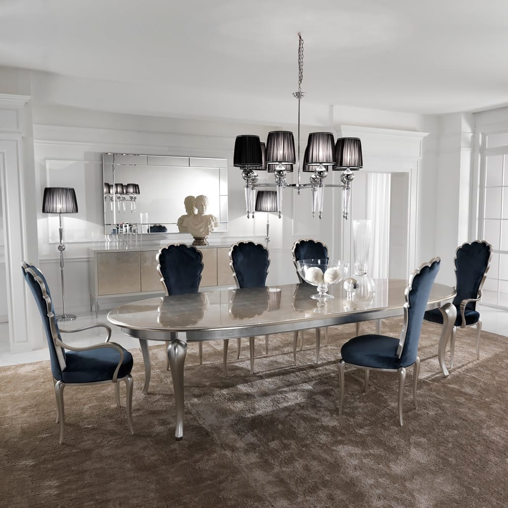 Silver Leaf Dining Set Including Navy Blue Velvet Chairs Juliettes