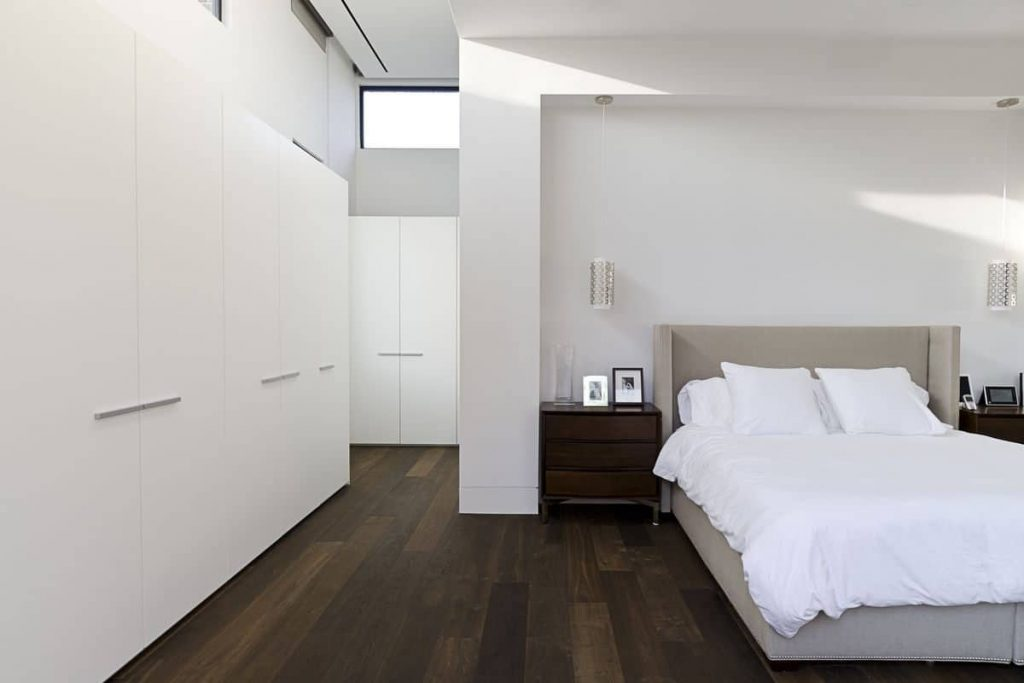 Simple Minimalist Bedroom With Modern Furniture And White Closet
