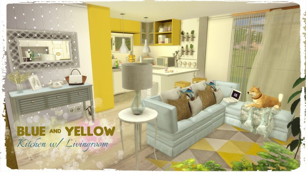 Sims 4 Blue Yellow Kitchen With Living Room Build Decoration