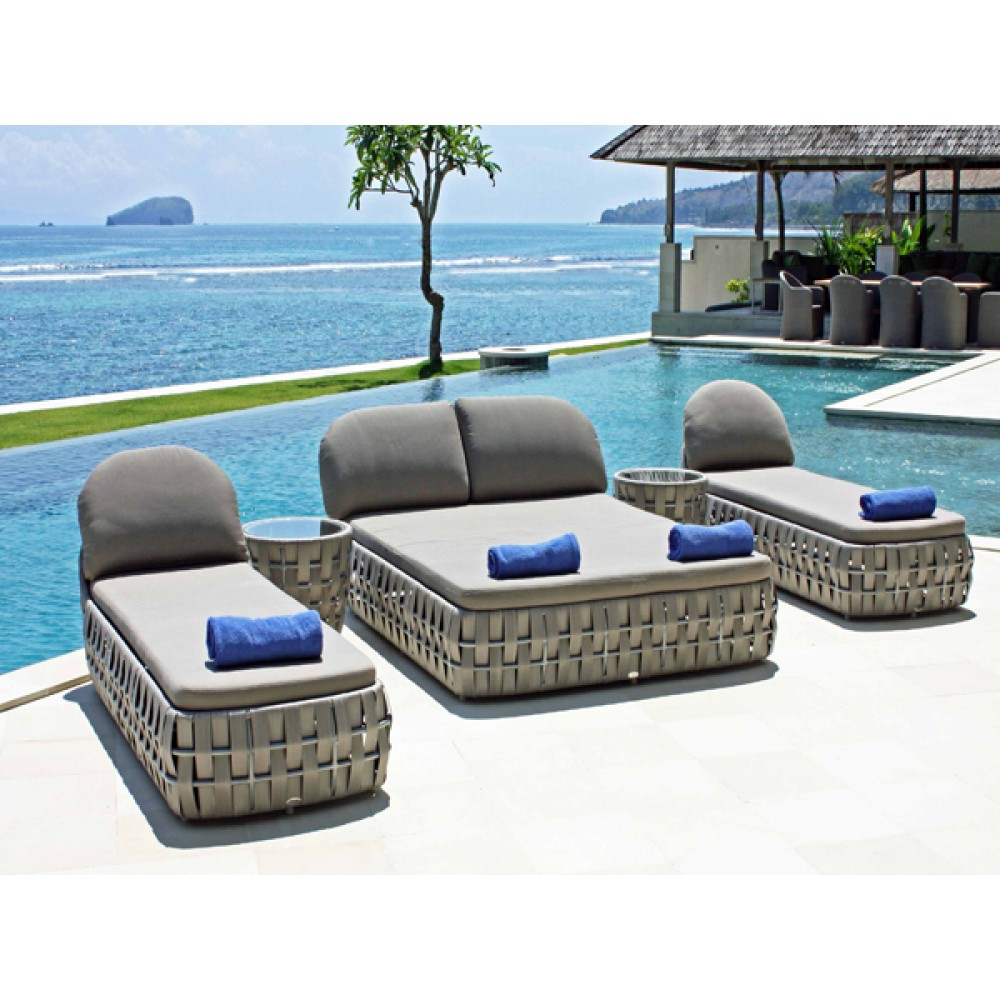 Skyline Design Strips Rattan Outdoor Commercial Sunlounger Luxury