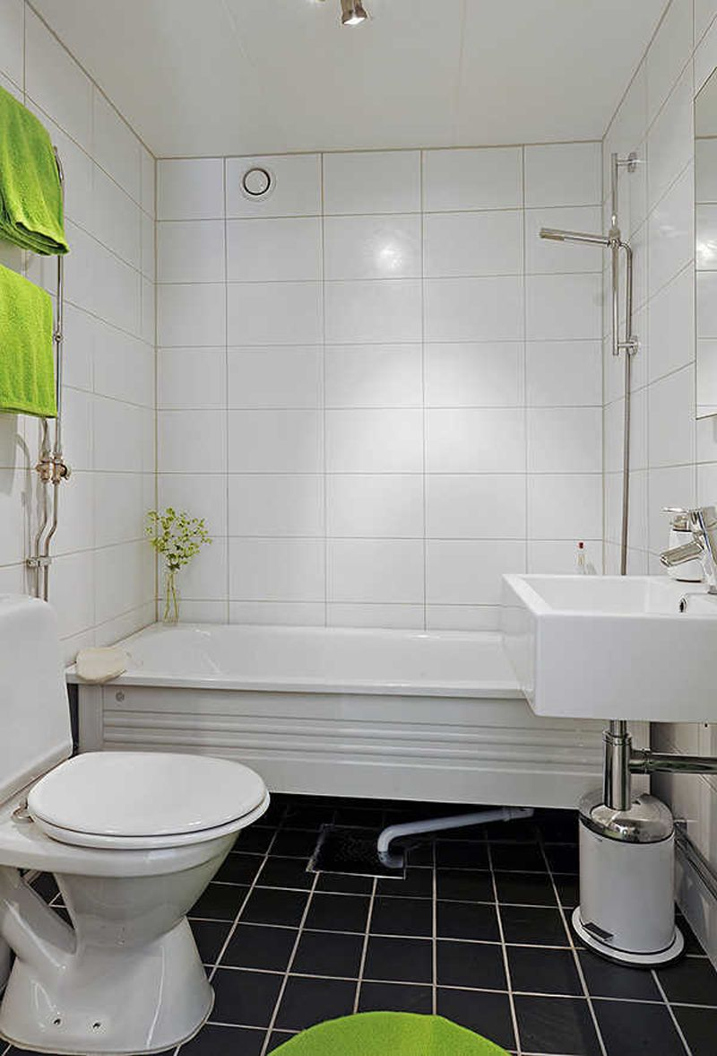 Square And Rectangular Tiles Charming White Small Bathroom Mosaic