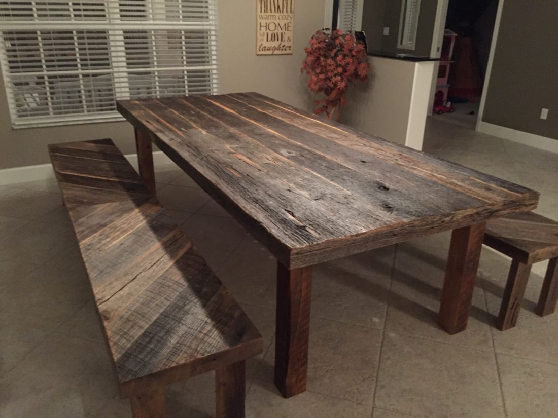 Stacys Rustic Reclaimed Wood Dining Table With Matching Benches