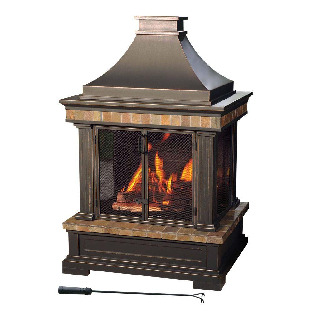 Sunjoy Amherst 35 In Wood Burning Outdoor Fireplace L Of082pst 3