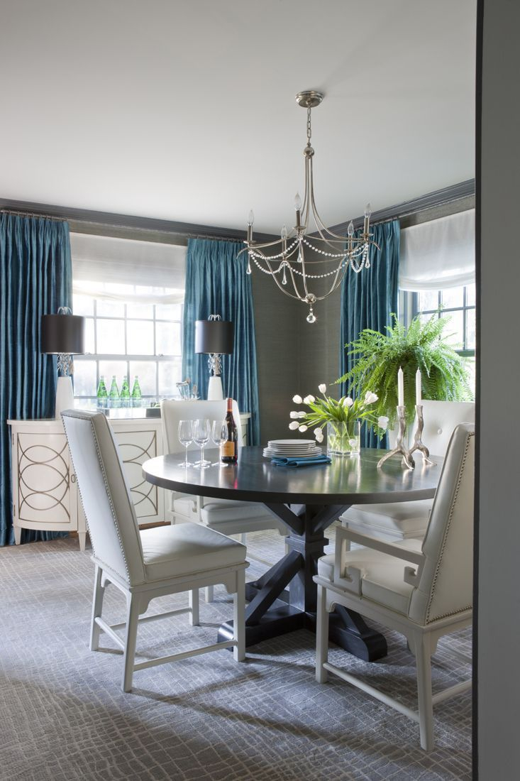 Teal Colored Dining Rooms Love The Pop Of Blue On Grey Walls As