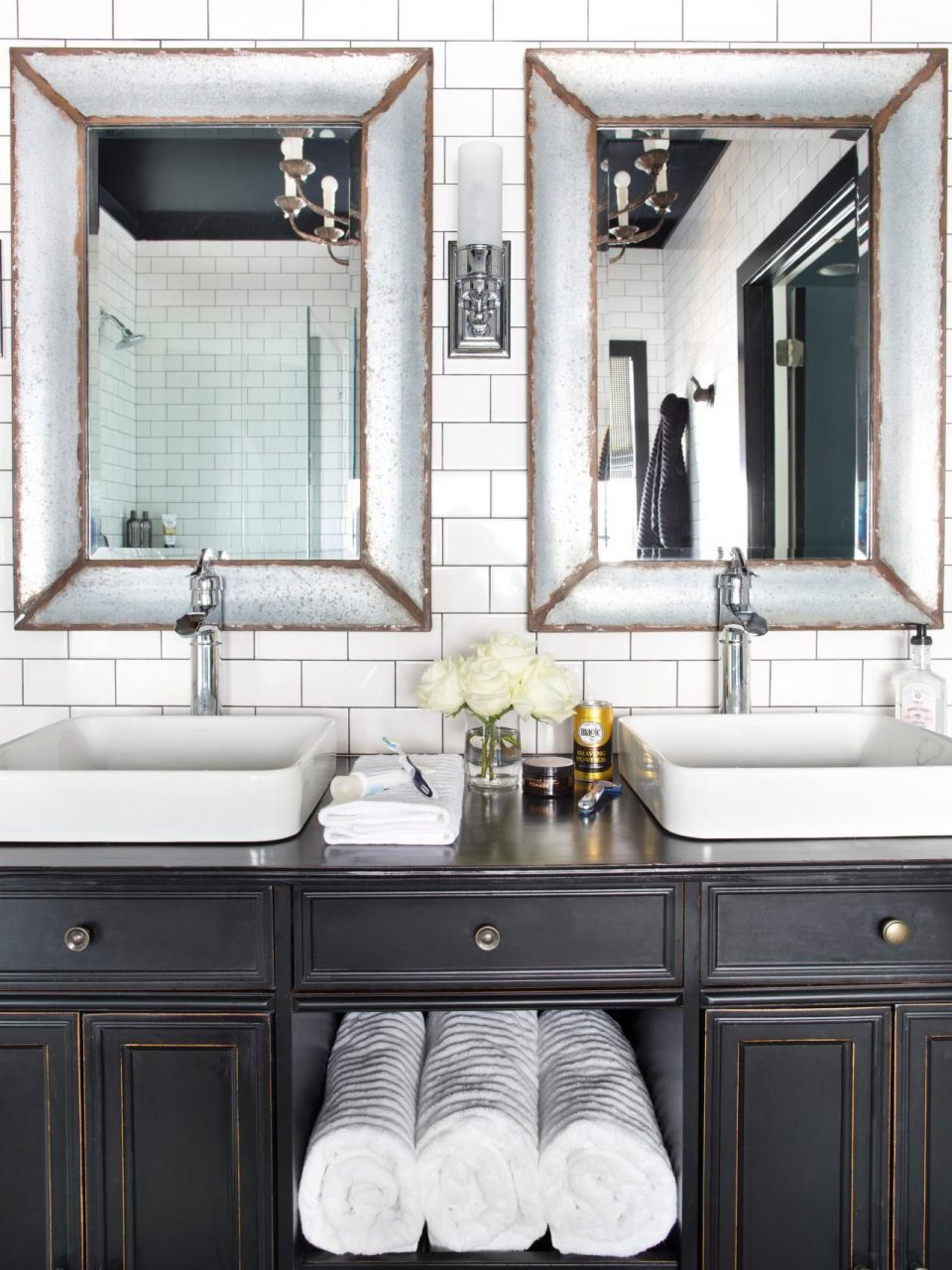Timeless Black And White Master Bathroom Makeover Jeffs Condo