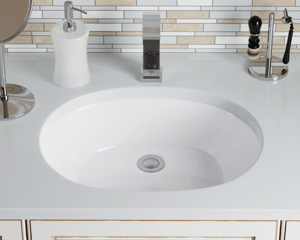 Upl White White Porcelain Bathroom Sink