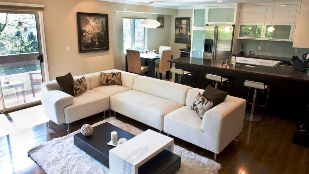 Use A Sectional Sofa To Separate Two Areas Youtube