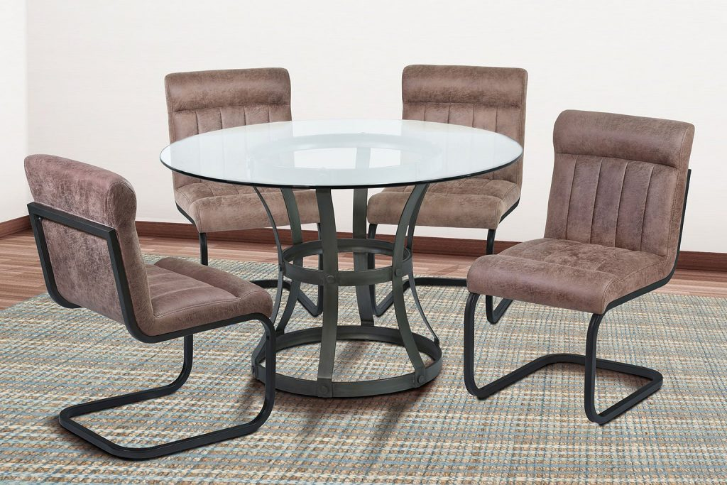 Vancouver Dining Room Set W Tobacco Side Chairs Mineral Armen
