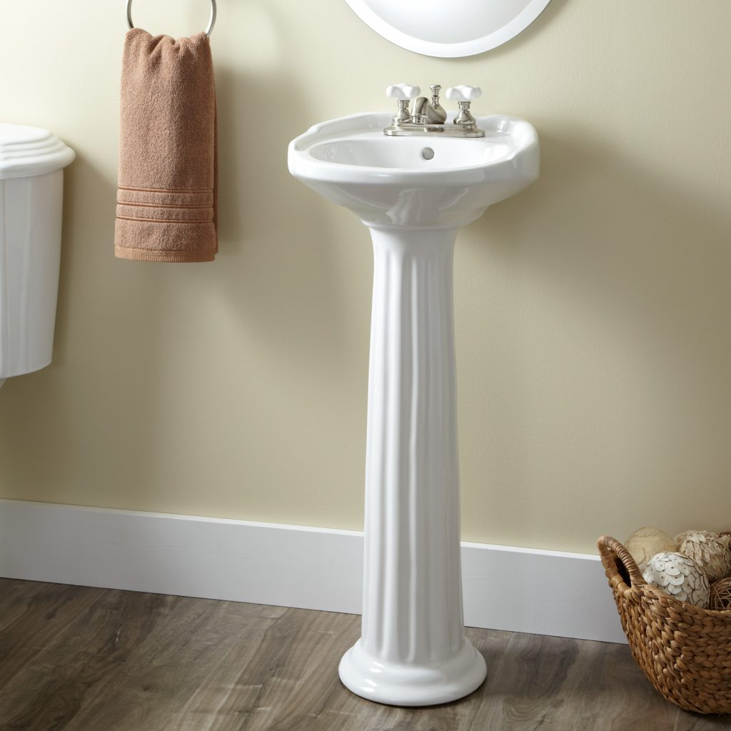 Victorian Ultra Petite Porcelain Pedestal Sink Bathroom