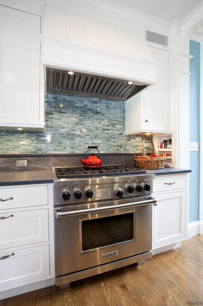View Of Kitchen With Dark Turquoise Island Colorf Trends