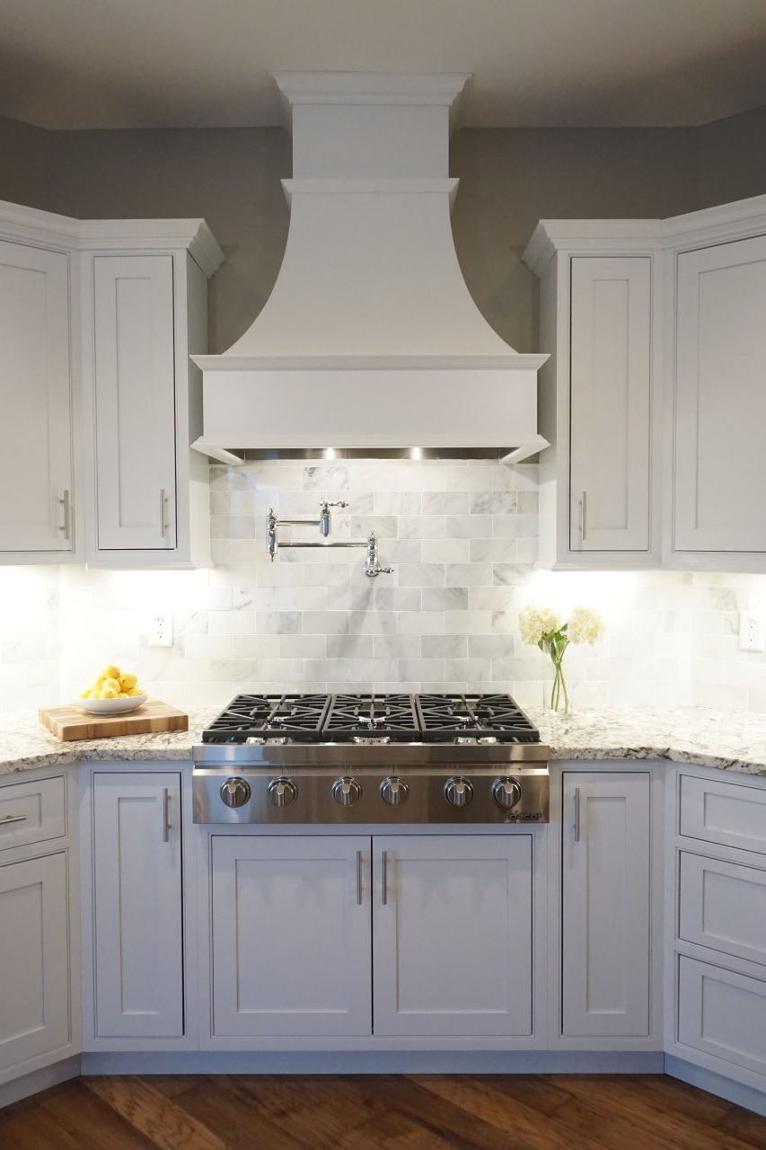 White Cabinets Shaker Door Inset Cabinetry Decorative Range Hood