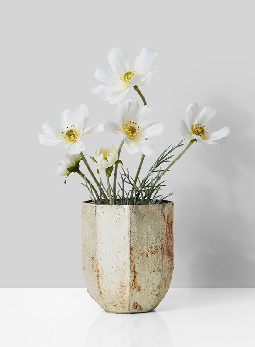 White Cosmos In Pearl Rust Vase Centerpiece Vasesdecorbranches