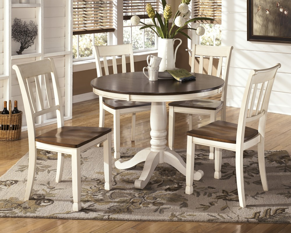 Whitesburg Round Dining Room Table 4 Side Chairs D58302415b