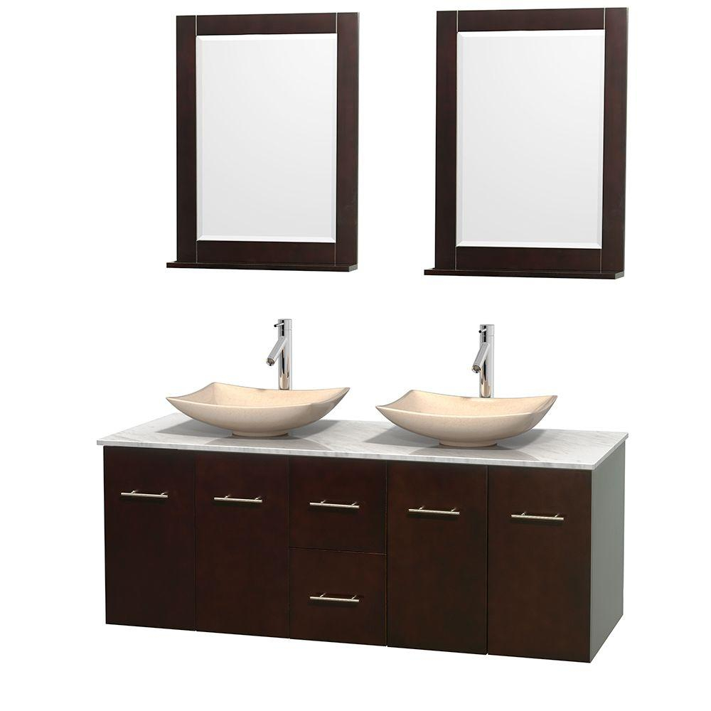 Wyndham Collection Centra 60 In Double Vanity In Espresso With