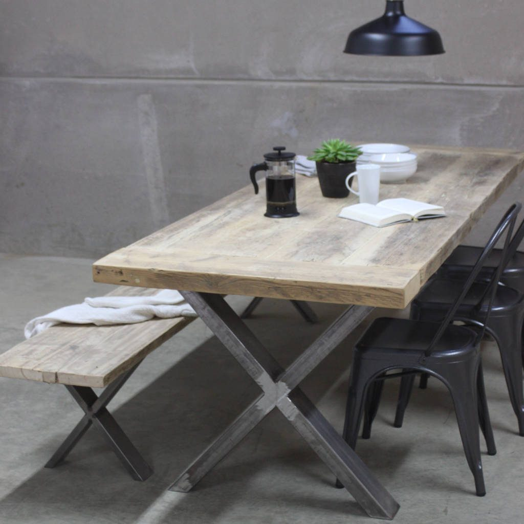 Xavier Reclaimed Wood Dining Table With Steel X Frame Rust