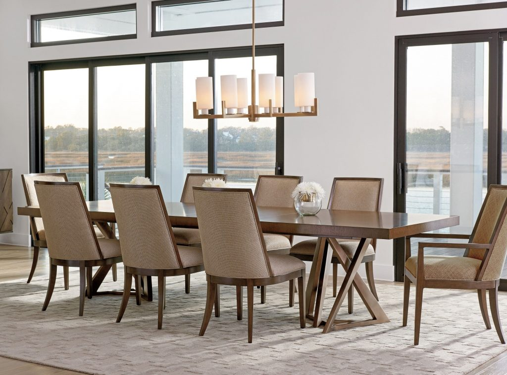 Zavala Nine Piece Dining Set With Loggia Rectangular Table
