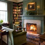 Library Living Room with Fireplace