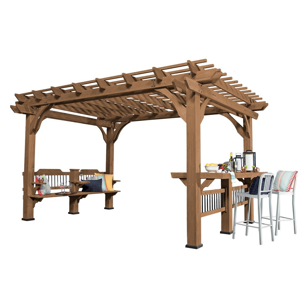 14 Ft X 10 Ft Backyard Discovery Oasis Wood Cedar Pergola