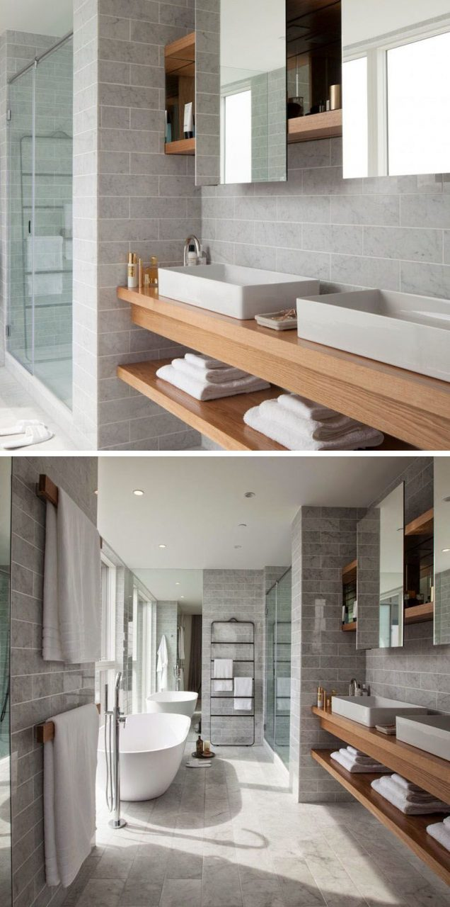 15 Examples Of Bathroom Vanities That Have Open Shelving This