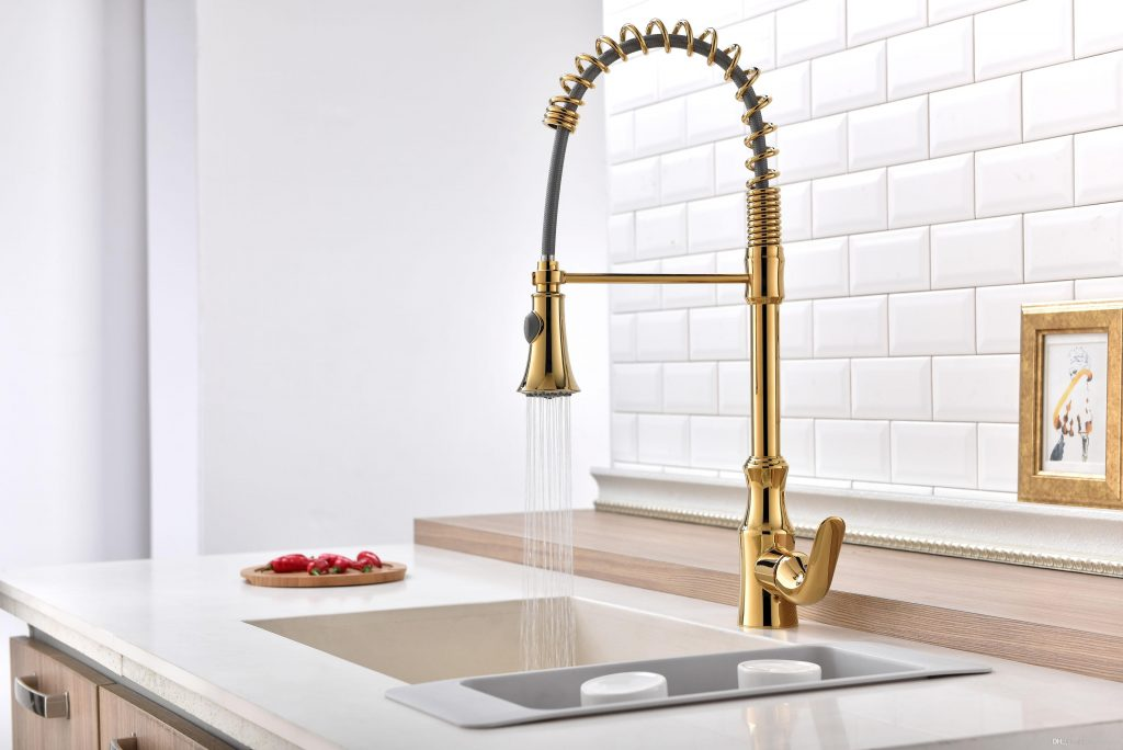 2019 Gold Pvd Pull Out Sprayer Kitchen Bar Sink Faucet Single Hole