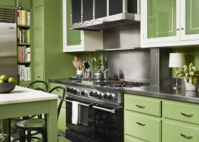 Apple Green Kitchen Cabinets with Wood