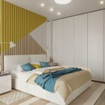 25 Beautiful Examples Of Bedroom Accent Walls That Use Slats To Look