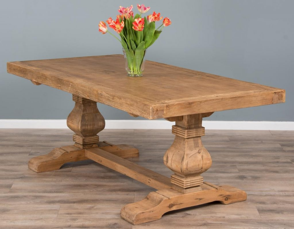 2m Reclaimed Elm Pedestal Dining Table Sustainable Furniture