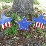 3 Patriotic Metal Star Decorations 4th Of July Decor Outdoor Etsy