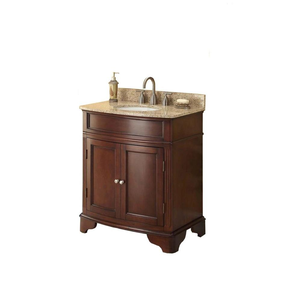 31 In W X 35 In H X 20 In D Vanity In Cherry With Granite Vanity