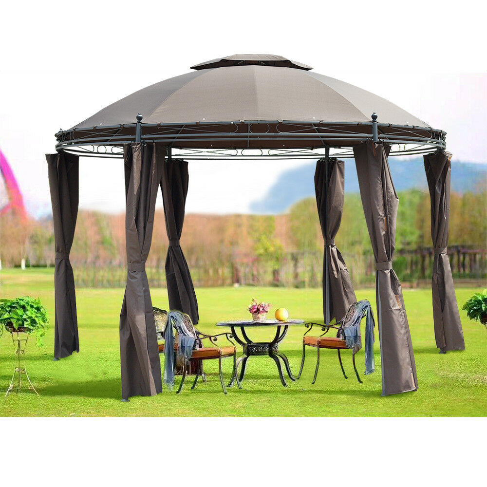 35m Round Metal Patio Garden Gazebo Pavillion Marquee Awning Party
