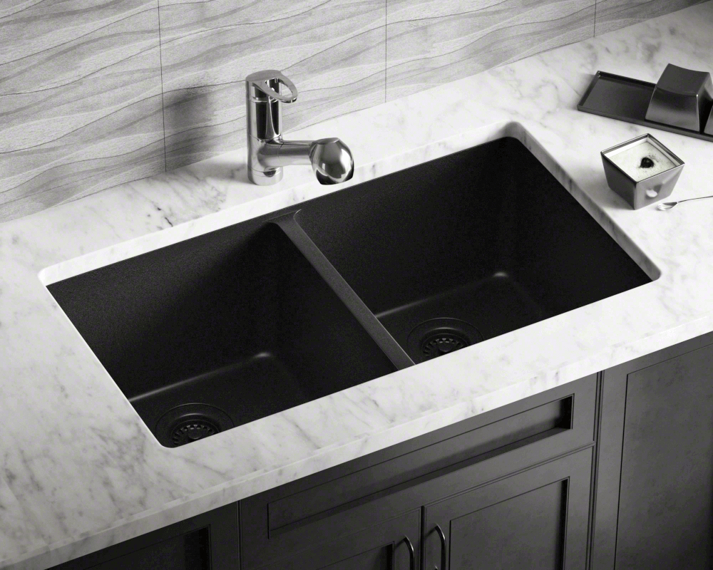 802 Black Double Equal Bowl Trugranite Kitchen Sink