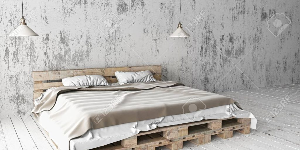 A Industrial Style Bedroom With Recycled Pallet Bed White Eco