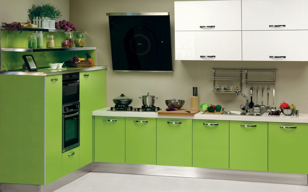 Adorable Lime Green Kitchen Cabinets With Stainless Steel Base And