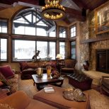 Adorable Rustic Style Living Room Design With Elegant Brown Leather