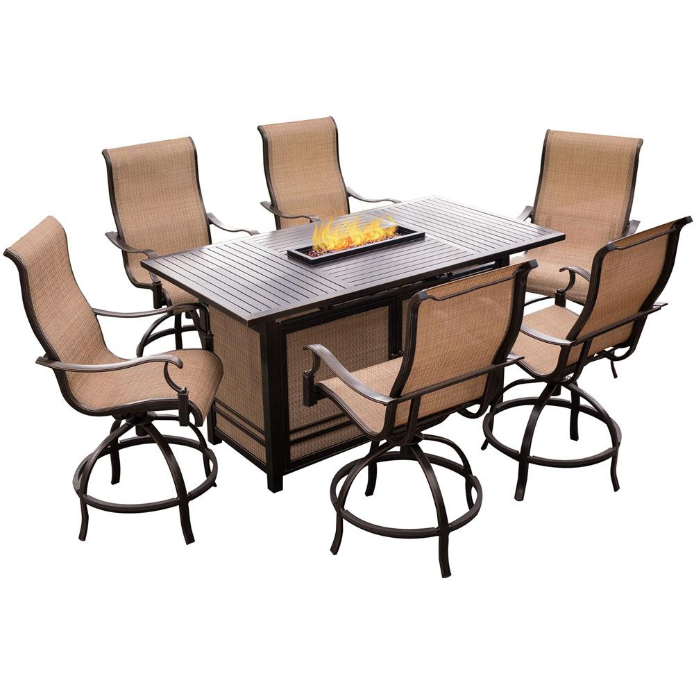 Agio Somerset 7 Piece Rectangular Outdoor Bar Height Dining Set With