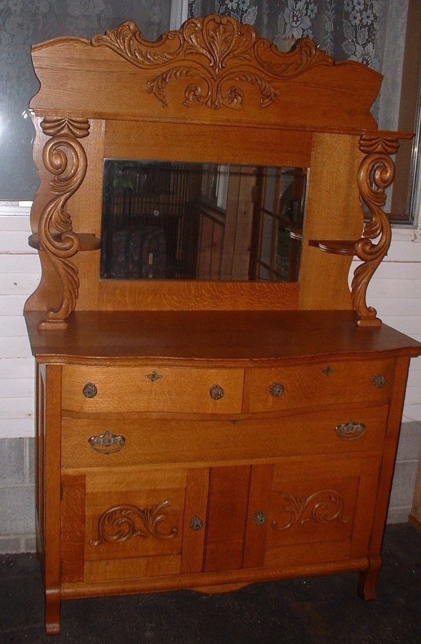Antique Vintage American Oak Carved Sideboard Buffet Mirror Tiger