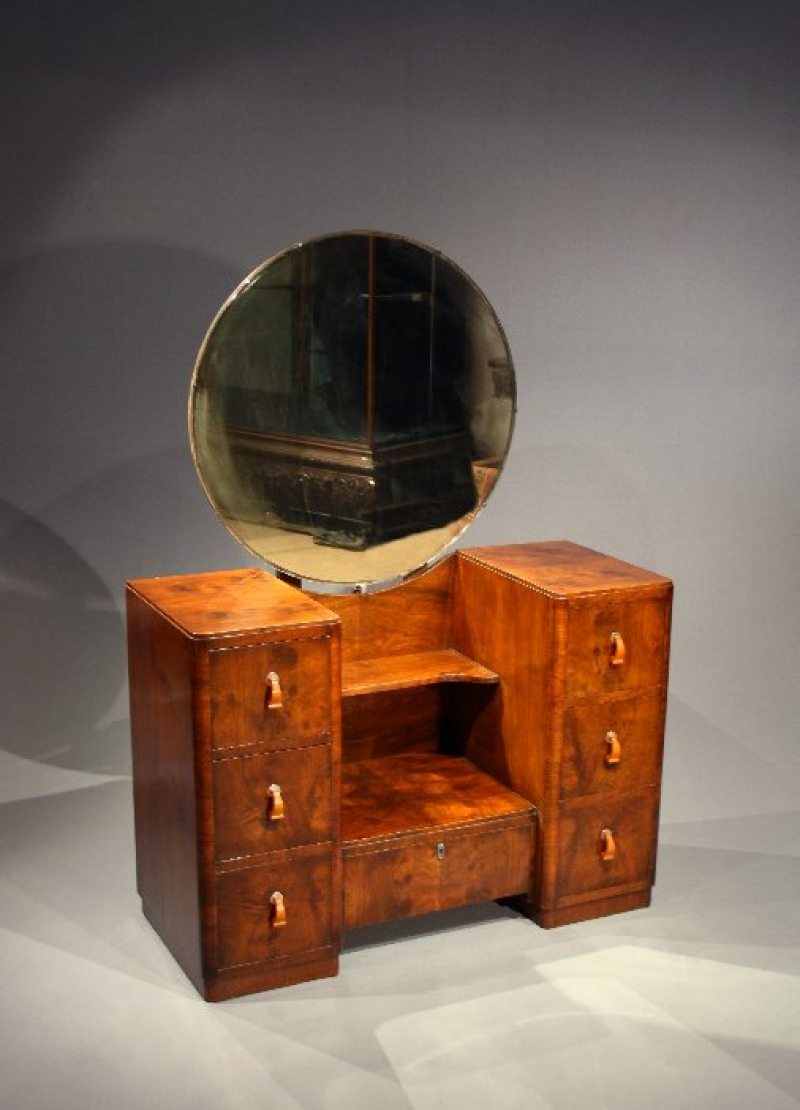 Art Deco Walnut Dressing Table With Mirror Loveday Antiques