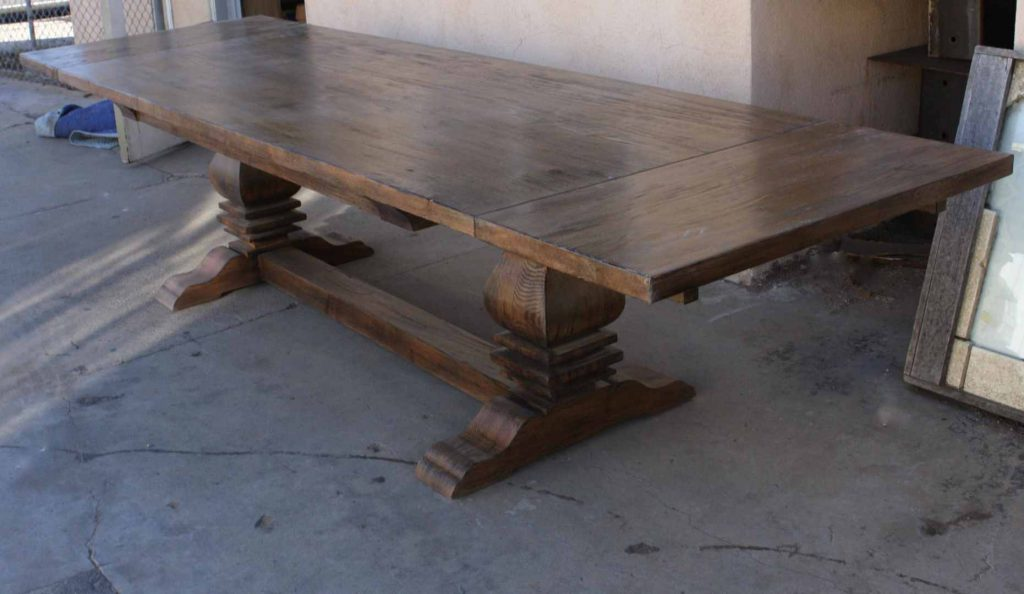 Articles With Salvaged Wood Trestle Rectangular Extension Dining