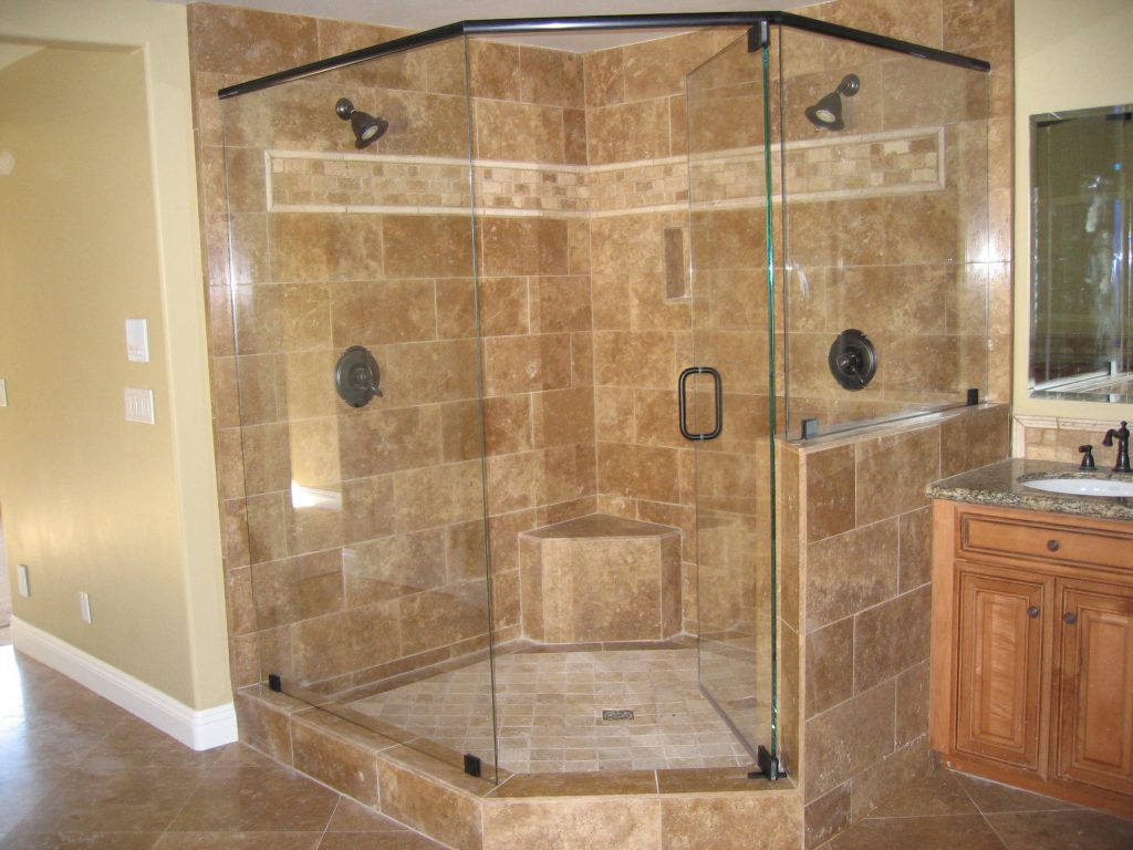 Bathroom With Tile Shower And Neo Angle Shower Also Glass Shower
