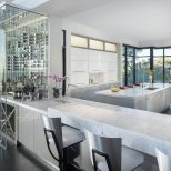 Beautiful Kitchen Features Natural Stone Counters Floor To Ceiling