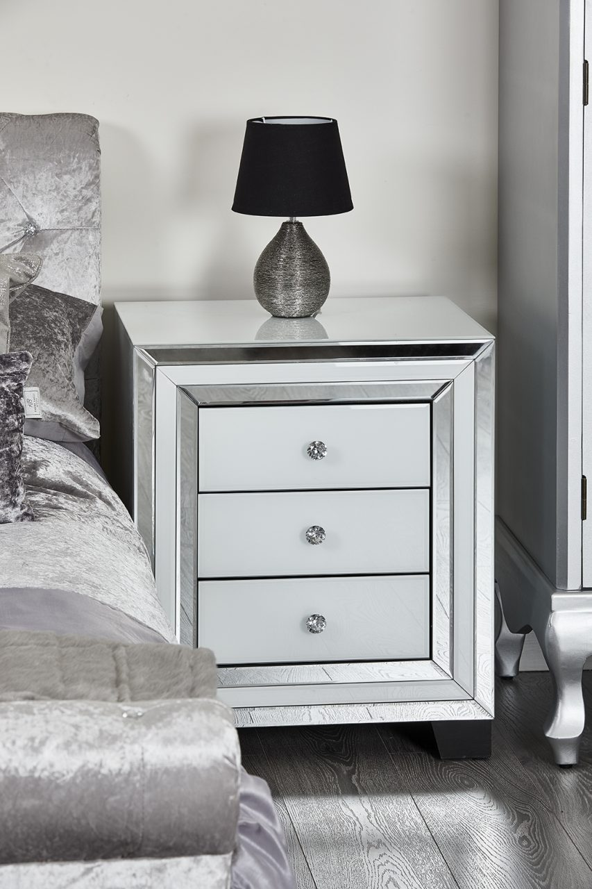 Bedroom Furniture White Glass Mirror Trim Bedside Table Nightstand