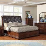 Bedroom Teak King Bedroom Sets With Tufted Leather Headboard Does