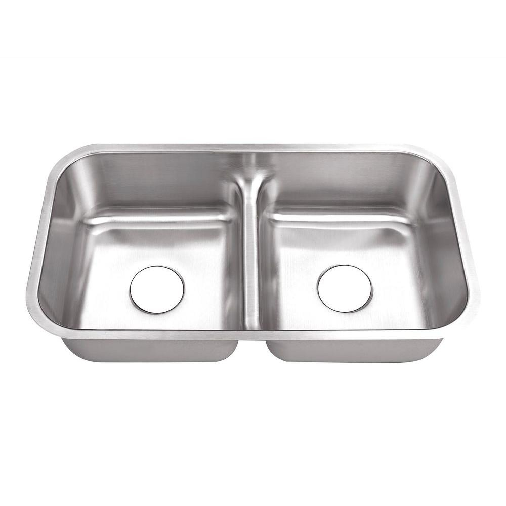 Belle Foret Undermount Stainless Steel 32 In 0 Hole 5050 Double