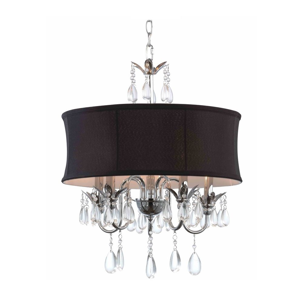 Black Drum Shade Crystal Chandelier Pendant Light 2234 Bk