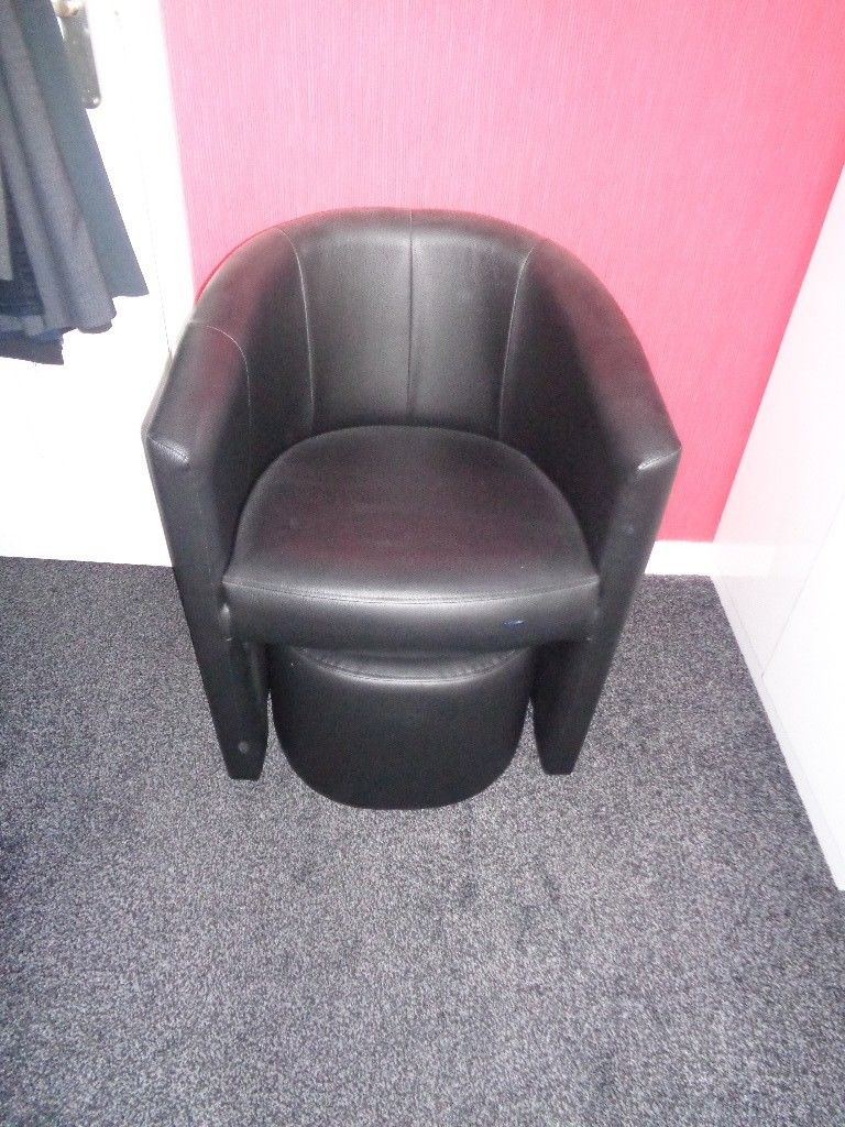 Black Faux Leather Tub Chair With Footstool In Guiseley West Yorkshire