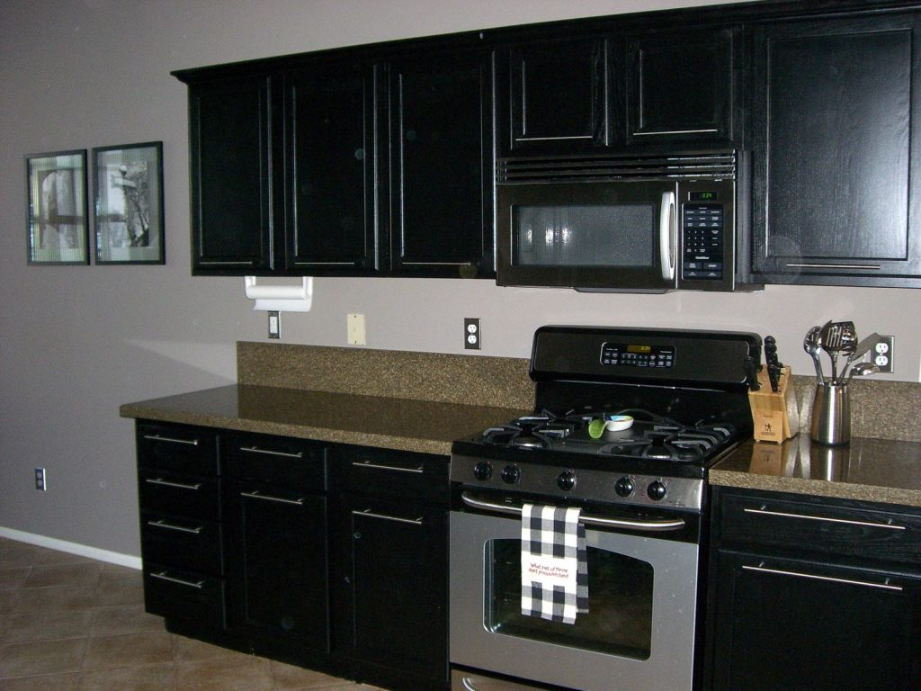 Black Kitchen Base Cabinets Color Ideas With Single Wall Cabinet